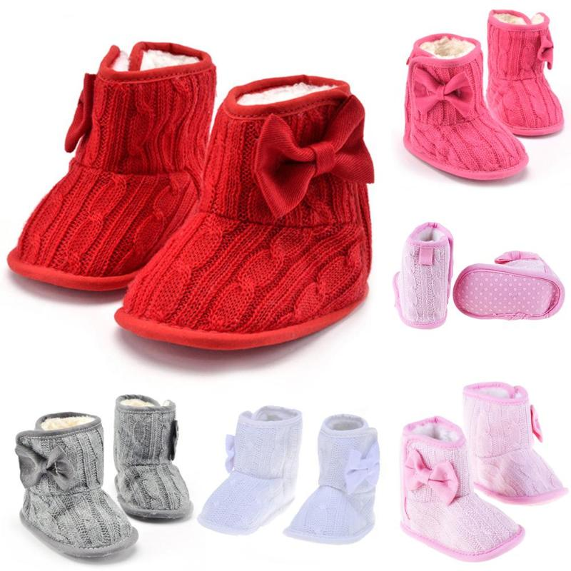 New Baby Girls Winter Snow Boots Infant Solid Bowknot Shoes Prewalker