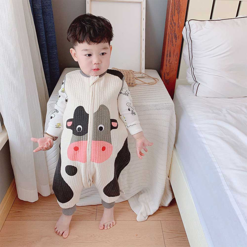 Baby Sleeping Bag Vest Sleepsacks Cute Cow Baby Carriage Sack For Children Play In Bed Fashion Anti Tipi Jumpsuits