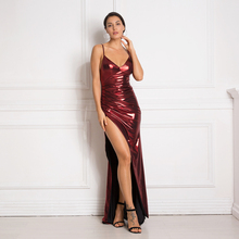 Hollow Out Burgundy Maxi Dresses Backless Split Front Shiny Floor Length Bodycon Sleeveless Mermaid Dress цена