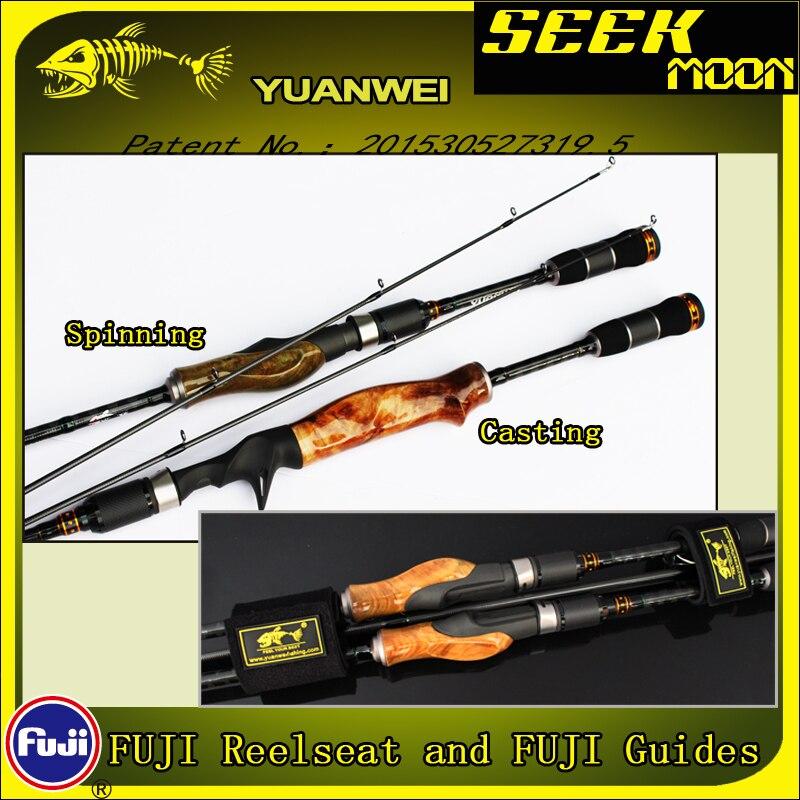 YUANWEI 1.98m 2.1m Spinning/Fundição Pesca Rod 2Sec ML/M/MH Raiz De Madeira Mão de Carbono vara isca Vara J233 Olta Super Qualidade - 6