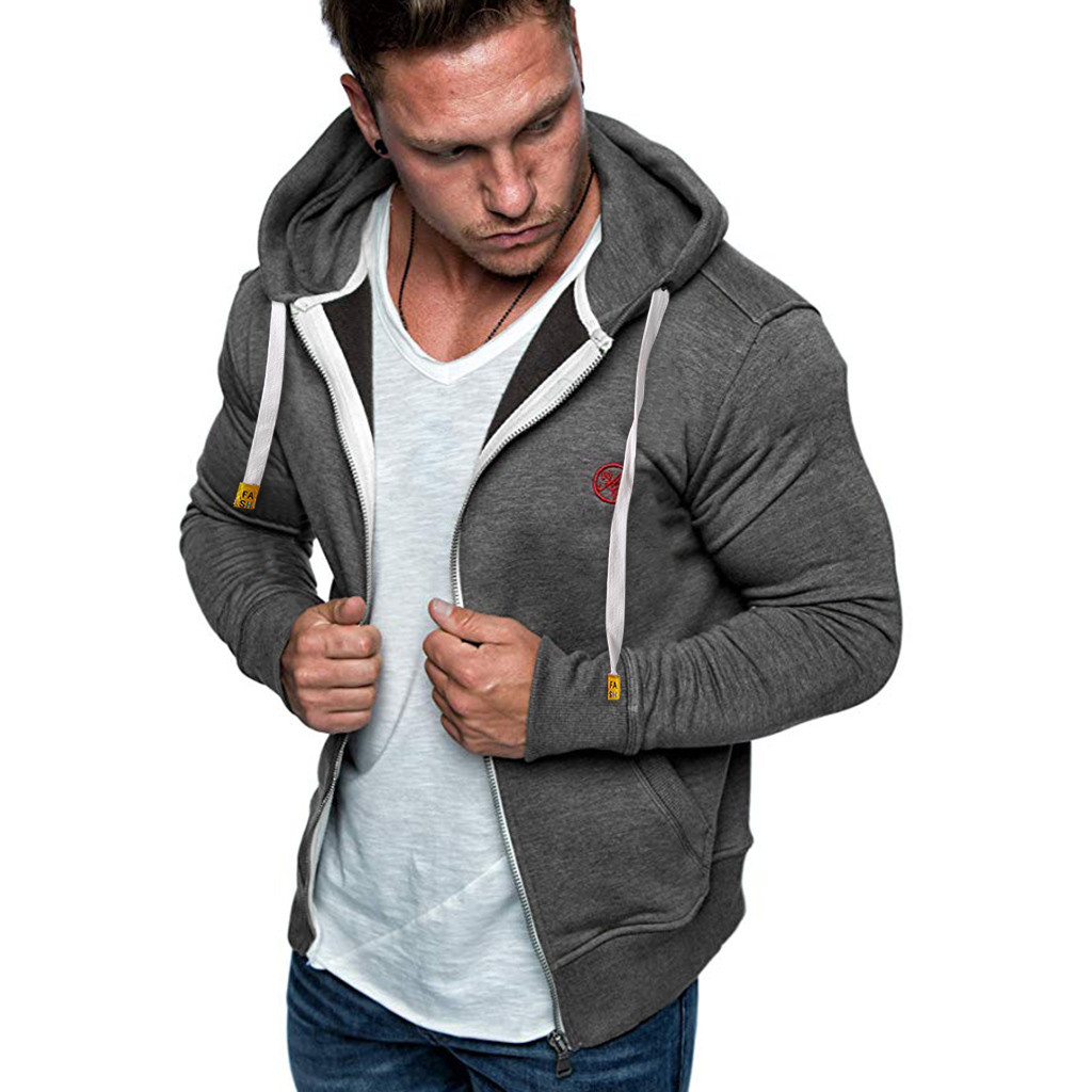 Feitong Jacket Men Hooded Autumn Winter Hip-Hop Mujer Chaqueta Masculino Zipper Solid
