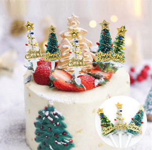 Image 2 - 5/10pcs Merry Christmas Cake Topper Mini Christmas Tree Cupcake Toppers New Year Xmas Party Ornaments Kids Birthday Cake Decor