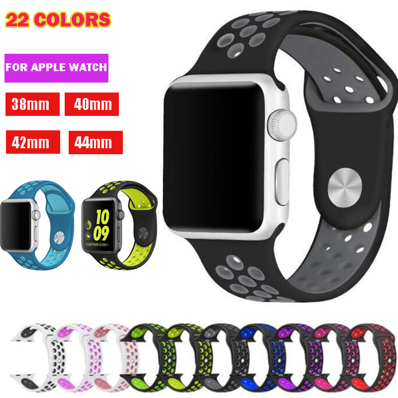 Series 1/2/3/4/5 Sport Wristband For Apple Watch Band 38mm 40mm 42mm 44mm Strap For Iwatch Link Bracelet