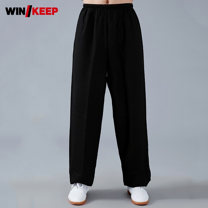 Summer Breathable Women Wushu Training Long Pants Men Yoga Wing Chun Elastic Waist Loose Fit Martial Taichi Arts Sport Pants