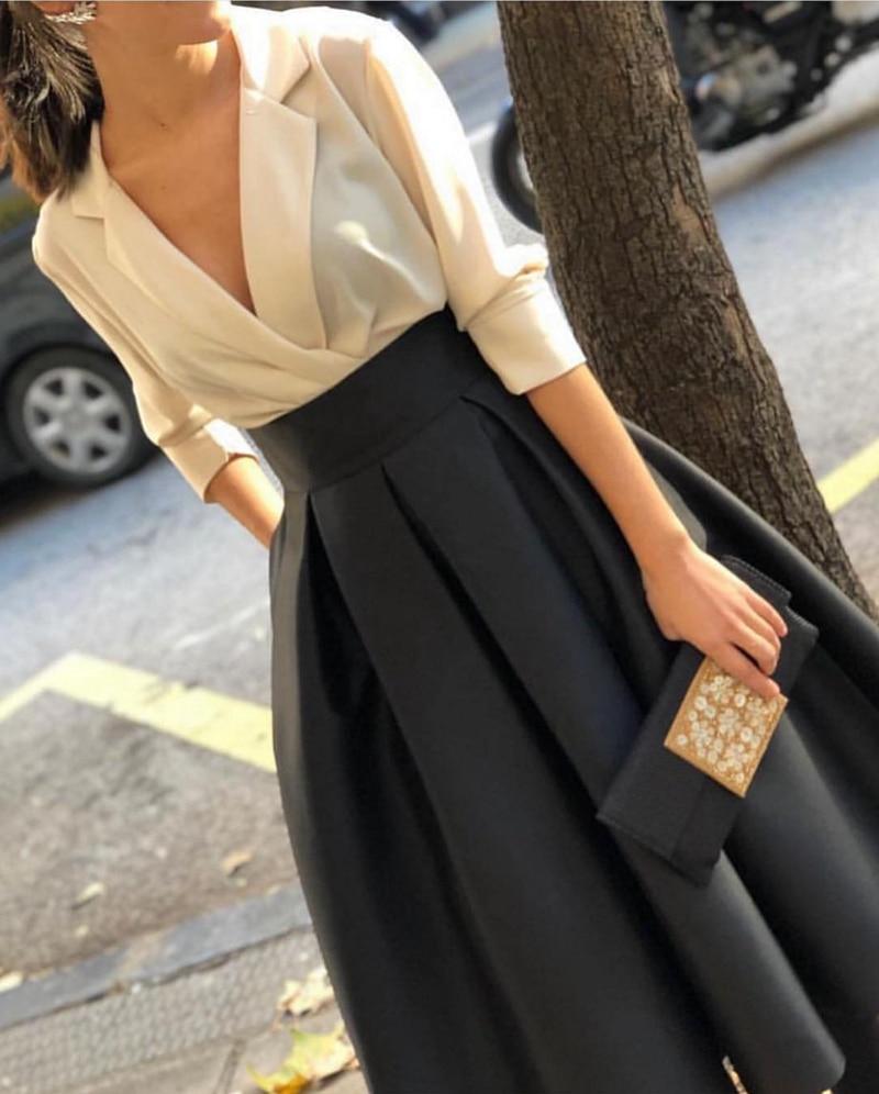 New Arrival V Neck White Black Evening Dress Short 2020 Simple Evening Dresses Abiye Cheap Evening Gowns Vestido Mulçumanos