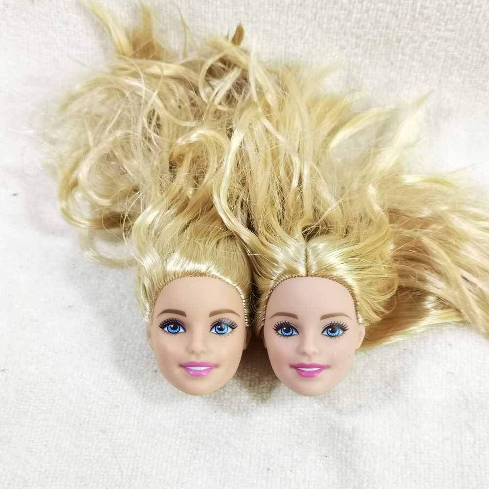2pcs BX Original Foreign Trade Classical Europe Beauty 1/6 OOAK NUDE Doll Heads Mussed Golden Hair For DIY Good Condition