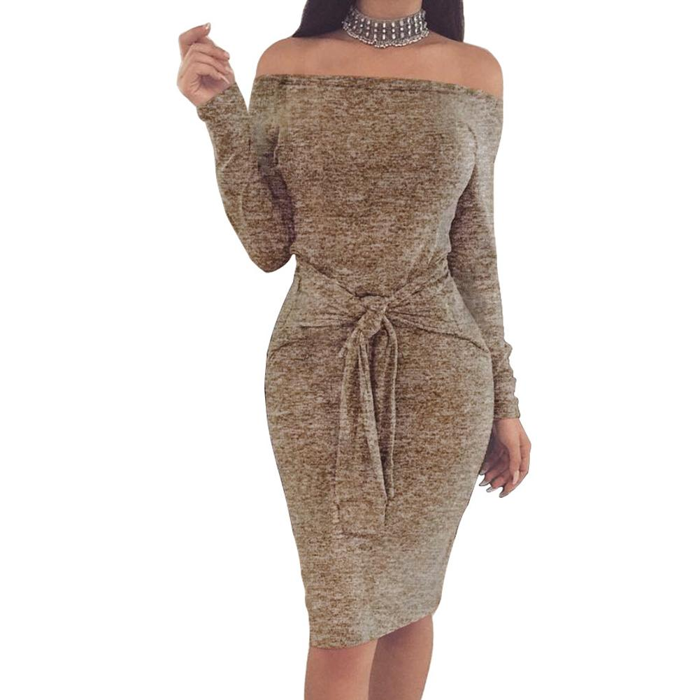 Sexy Ladies Off Shoulder Strap Evening Dress Casual Slim Long Sleeve Knotted Skinny Dress Club Mini Skirt