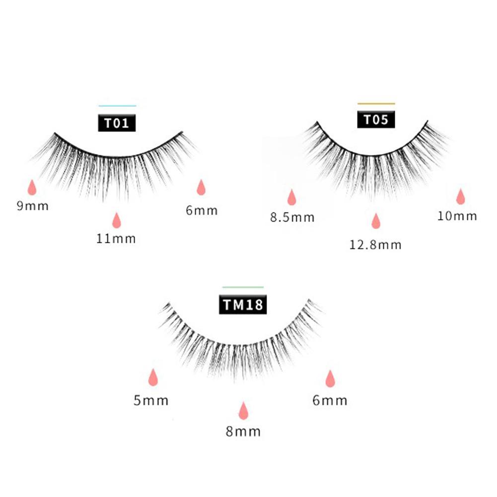 3Pairs/Set Magnetic Eyelashes Applicator Clip No Glue Need Easy Apply Eyelashes Reusable Quantum Soft Magnetic False Eyelash 3