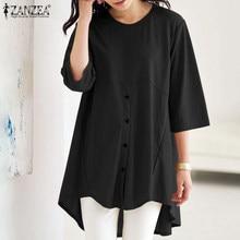 2021 Vintage Blouse Voor Vrouwen Zanzea Zomer Vakantie Shirts Plus Size 5XL Casual Korte Mouw Tops Dames Katoen Blusa Femininas