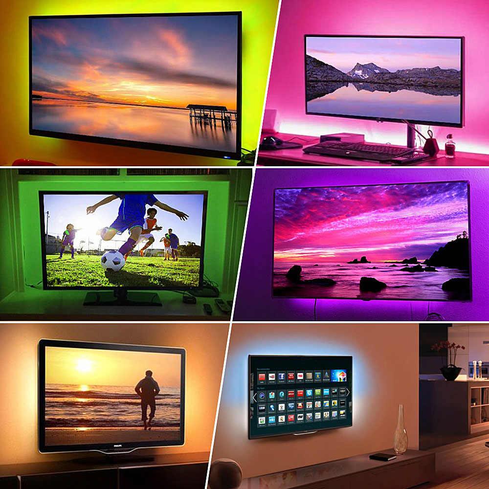 50 Cm 1M 2M 3M RGB USB Dây Đèn LED 5050 DC 5V Diode Băng Neon Ruy Băng đèn Led Cho Truyền Hình Nền Chiếu Sáng Nhà Bếp Với Bộ Điều Khiển Từ Xa