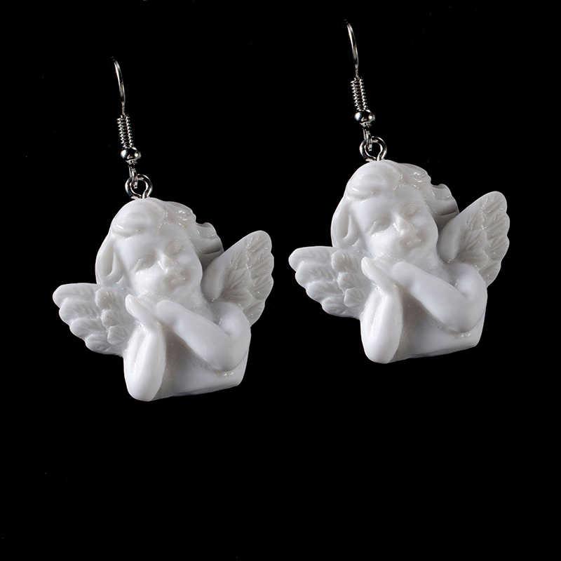חמוד קופידון מלאך תליון טיפת עגיל בציר מלאך Drop עגילי פאנק תכשיטי עבור מגניב נשים ילדה ידידות מתנות