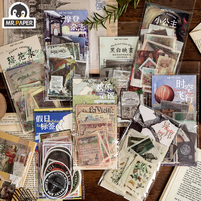 Mr.paper 8 Designs 60Pcs/lot Granny Chic Deco Stickers Scrapbooking Bullet Journal Toy Retro Deco Album DIY Stationery Stickers