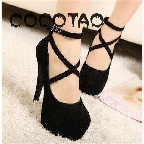 Four Seasons With Bind With Ultra-high With Shallow Mouth Round Head Thin Waterproof Taiwan Sexy Women's Shoes Big Yards 29