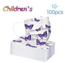 Mascarilla desechable de mariposa para niños, máscara facial de protección de tres capas, color morado, 10/20/30/50/100 Uds.