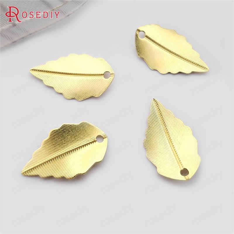 (36995) 20 piezas 17x11MM 24K Color oro latón árbol hoja abalorios de hojas colgantes Diy joyería accesorios venta al por mayor