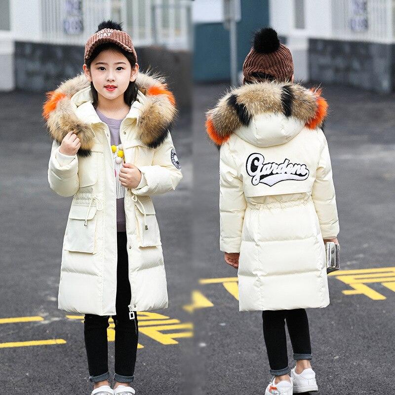 Mädchen Winter Jacke Faux Pelz Mit Kapuze Russische Winter Mantel 2019 Neue Kinder Jacke Unten Feder Oberbekleidung Lange Teen Kleidung
