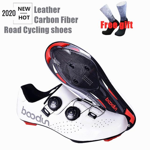 Tênis profissionais para ciclismo de estrada, calçados ultraleve de couro de fibra de carbono, para corrida e estrada, novo, 2020 1