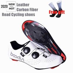 2020 новая дорожно-Велосипеды кожаная обувь углеродное волокно, ультра легкие самозакрывающиеся туфли Профессиональный Гоночный дорожный м...