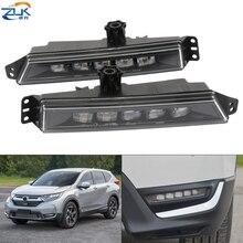 ZUK Pair Front Bumper LED Fog Lamp Fog Lamp For HONDA CRV 2017 2018 2019 2020 Daytime Running Light DRL Lamp White Color