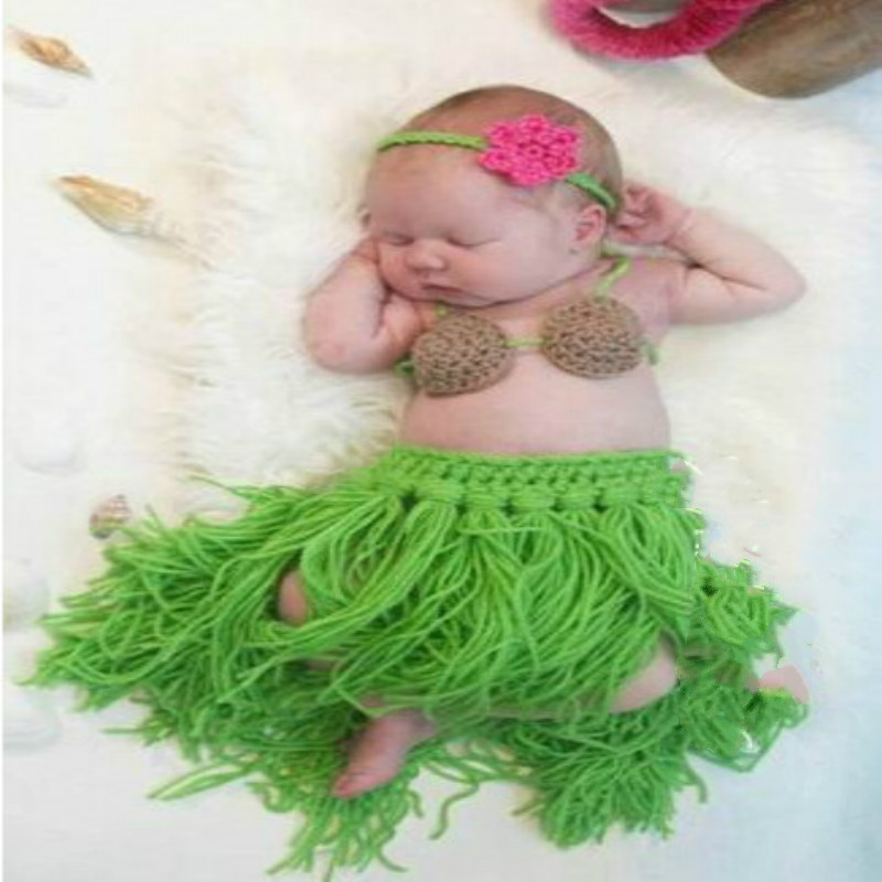 Baptism Baby Handmade Photography Clothing Hula Three-piece Set 0-3 Months M4