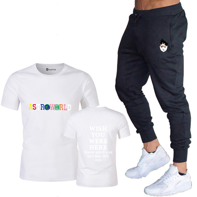 New Hot Hip Hop T-Shirt Men Travis Scotts Astroworld Harajuku T-Shirt Hope You Are Here Letter Print T-Shirt Track Pants Set