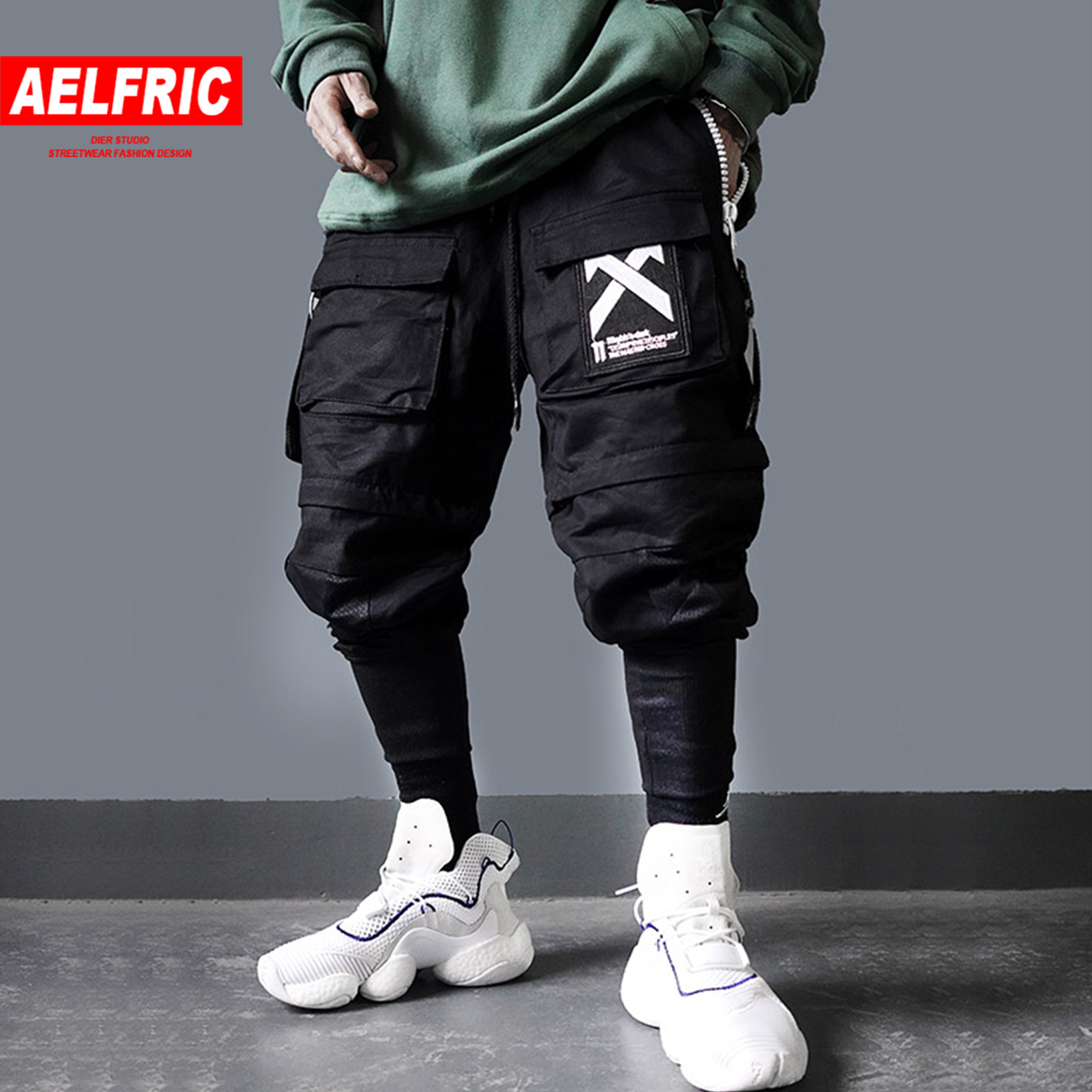 AELFRIC Detachable Multi Pockets Cargo Pants Mens 2019 Harajuku Hip Hop Casual Streetwear Joggers Male Elastic Waist Sweatpants