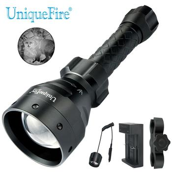 UniqueFire UF-1405 940nm IR LED  Flashlight Zoomable Kit Set 67mm Convex Lens 3 Modes Torch +Charger+Rat Tail+Scope Mount