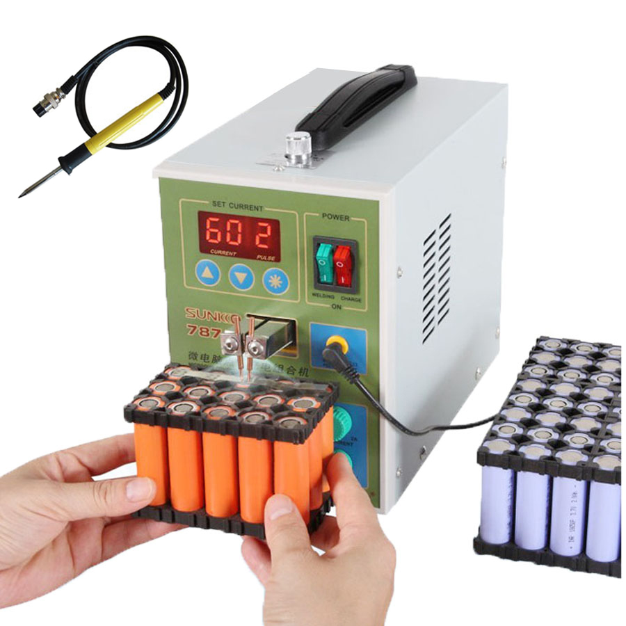 SUKKO 787A+ LED Pulse Battery Spot Welder With Electric Iron For 709 Series Spot Welding Machine With Light