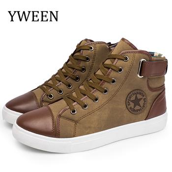 YWEEN Fashion Sneakers dla mężczyzn klasyczne koronki w wysokim stylu wiosna jesień wulkanizowane płaskie z obuwie męskie duże rozmiary tanie i dobre opinie RUBBER DX868 Cotton Fabric Szycia Wiosna jesień Lace-up Mieszkanie (≤1cm) Pasuje prawda na wymiar weź swój normalny rozmiar