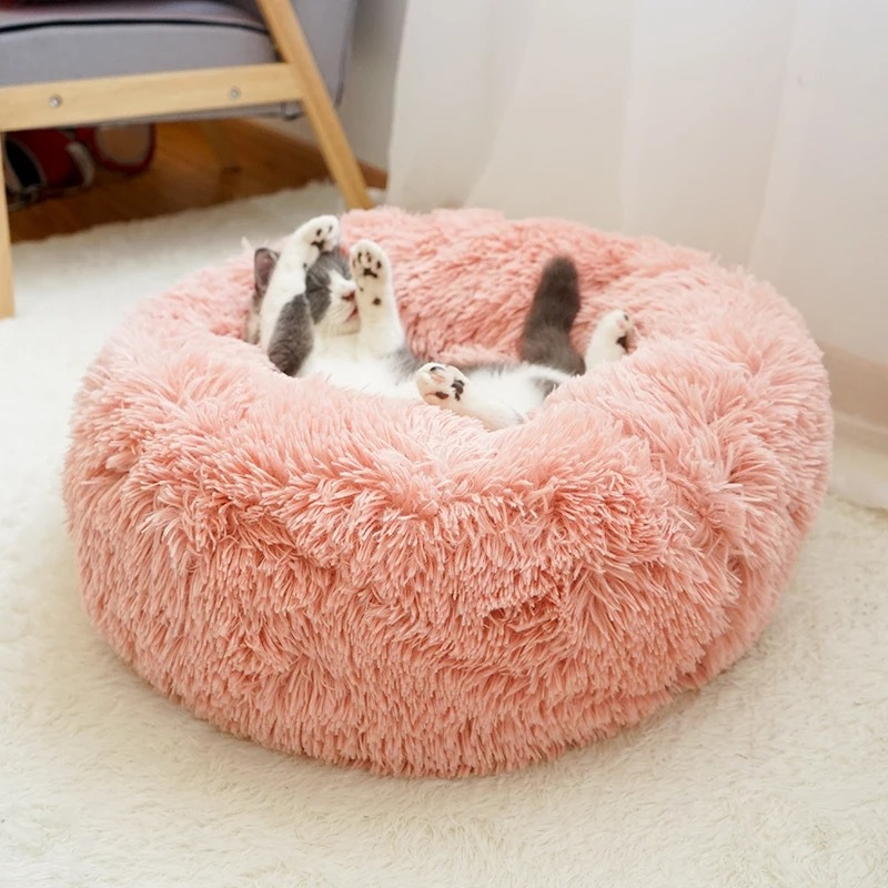Image 5 - Long Plush Super Soft Dog Bed Pet Kennel Round Sleeping Bag Lounger Cat House Winter Warm Sofa Basket for Small Medium Large DogHouses, Kennels & Pens   -