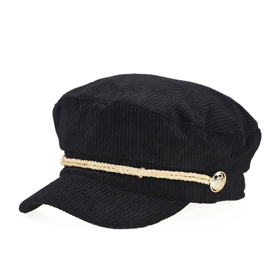 Corduroy Octagonal Hats For Women Solid Color Retro Octagonal Caps Soft Newsboy Caps Visor Cap Female Winter Hats