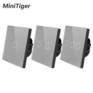 Minitiger EU/UK standard 1/2/3 Gang 1 Way Touch Switch Gray Crystal Glass Panel Touch Switch Light Wall Only Touch Function
