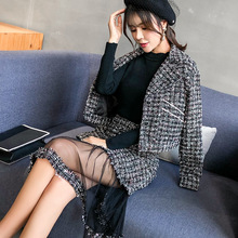 2019 Vintage Elegant two piece set Women Tweed Jackets + Midi Skirts Plus Size  2 women outfits tracksuits