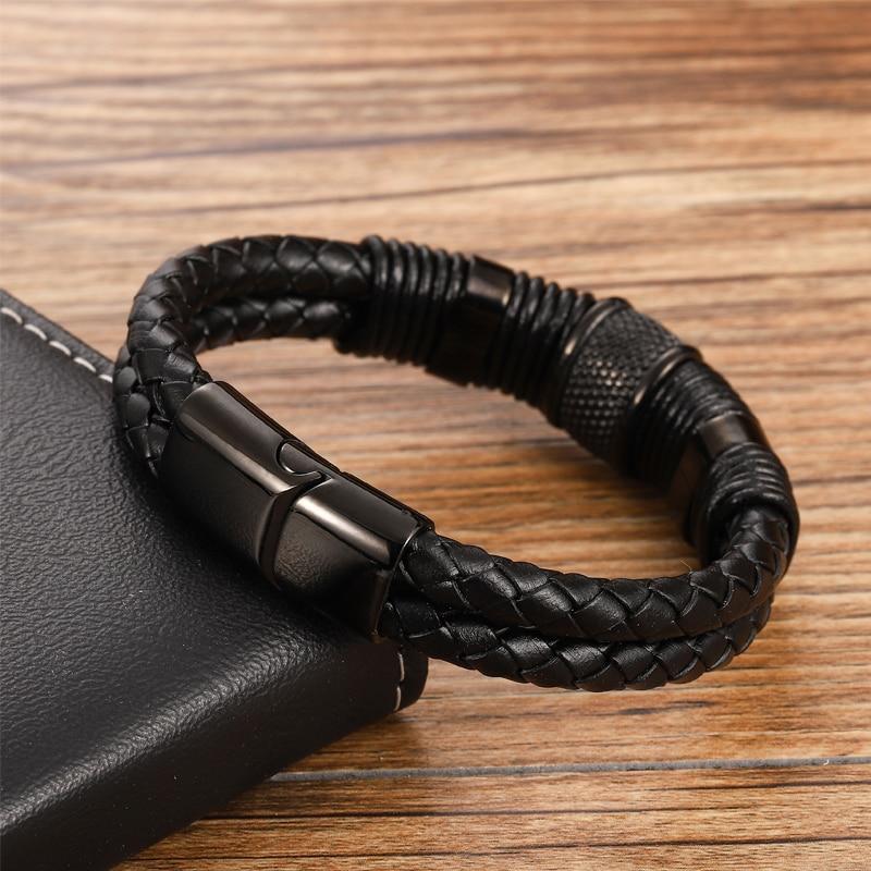MingAo-Bracelets magnétiques en acier inoxydable pour hommes, bijou Charkra noir, de Tennis en cuir, accessoires, bijoux, amis