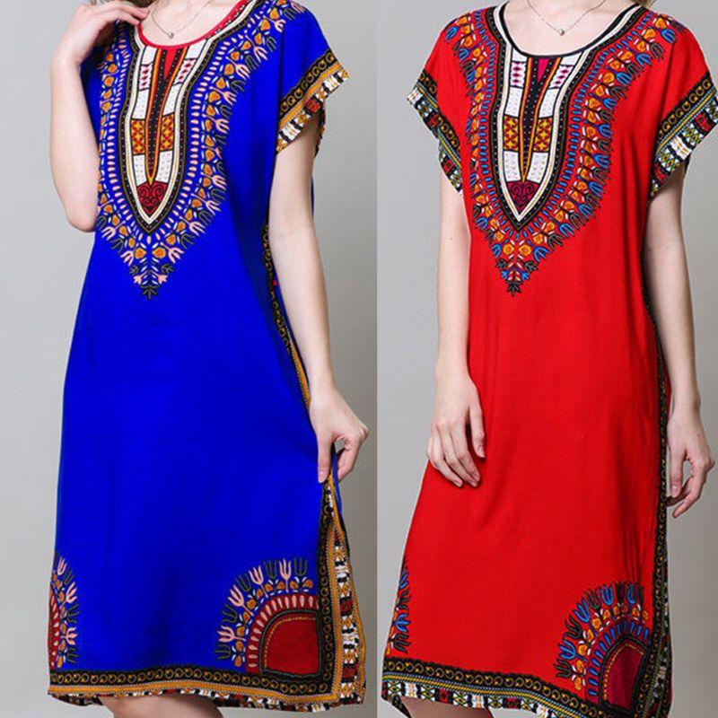 Womens Flare Short Sleeves Nightdress Ethnic Bright Colored Geometric Graphic Print Long Beach Dress Crew Neck Casual Sleepwear