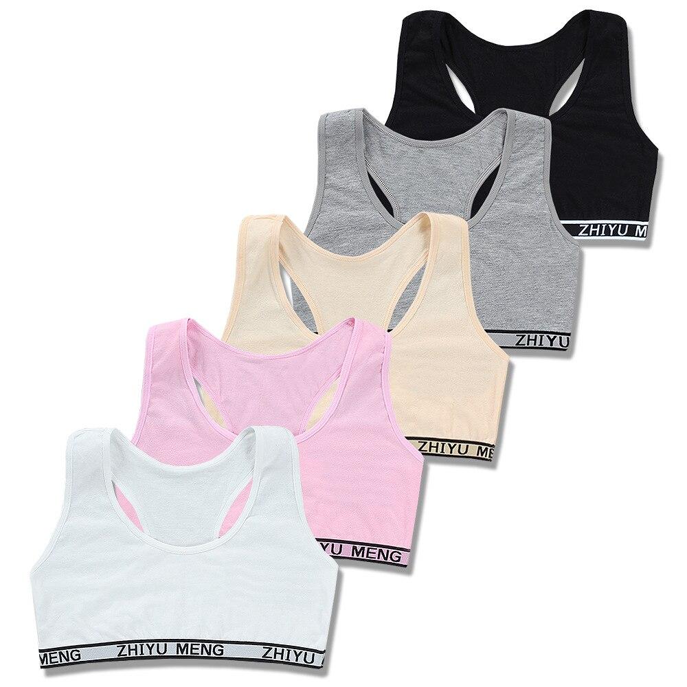 2pc/lot Girl Training Linen Soft Brassiere Sport Girl Bras For Teen Girls Letter Children Topic For Teenagers Vest
