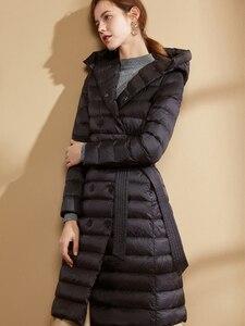 Image 2 - Fitaylor abrigo largo ultraligero de invierno para mujer, Abrigo largo con plumón de pato y una botonadura de talla grande, prendas de vestir cálidas para nieve, Parkas entalladas con capucha