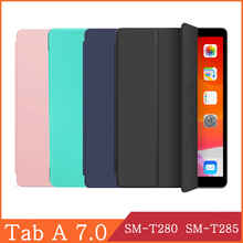 Funda For Samusng Galaxy Tab A 7.0 2016 SM-T280 SM-T285 T280 T285 7.0' leather Protective Tablet Case Kickstand Folio Capa Shell for samsung galaxy tab a 7 0 t280 sm t280 t280n t285 high quality ultra slim silk 3 fold transparent cover stand pu leather case
