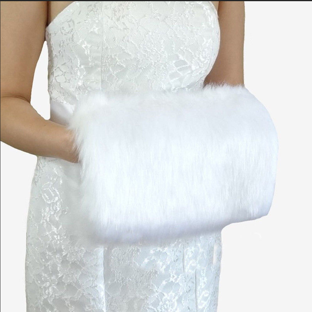 White/vory Winter Wedding Gloves Faux Fur Muff Bridal Hand Warming Soft Mitten