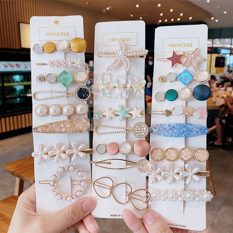 Handgemachte Perlen Haar Clips Pin Für Frauen Mode Geometrische Blume Barrettes Headwear Mädchen Süße Top Clip Kristall Zubehör