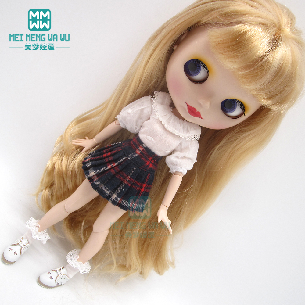 1pcs Blyth <font><b>Doll</b></font> Clothes Shirt, plaid skirt, <font><b>shoes</b></font>, socks for Blyth Azone OB23 OB24 <font><b>1/6</b></font> <font><b>doll</b></font> accessor image