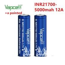 Originale Vapcell 21700 5000 mAh 12A 3.7V Ricaricabile Li-Ion ad alta capacità pulsante in alto (aggiungere un a punta) per la torcia elettrica batterie