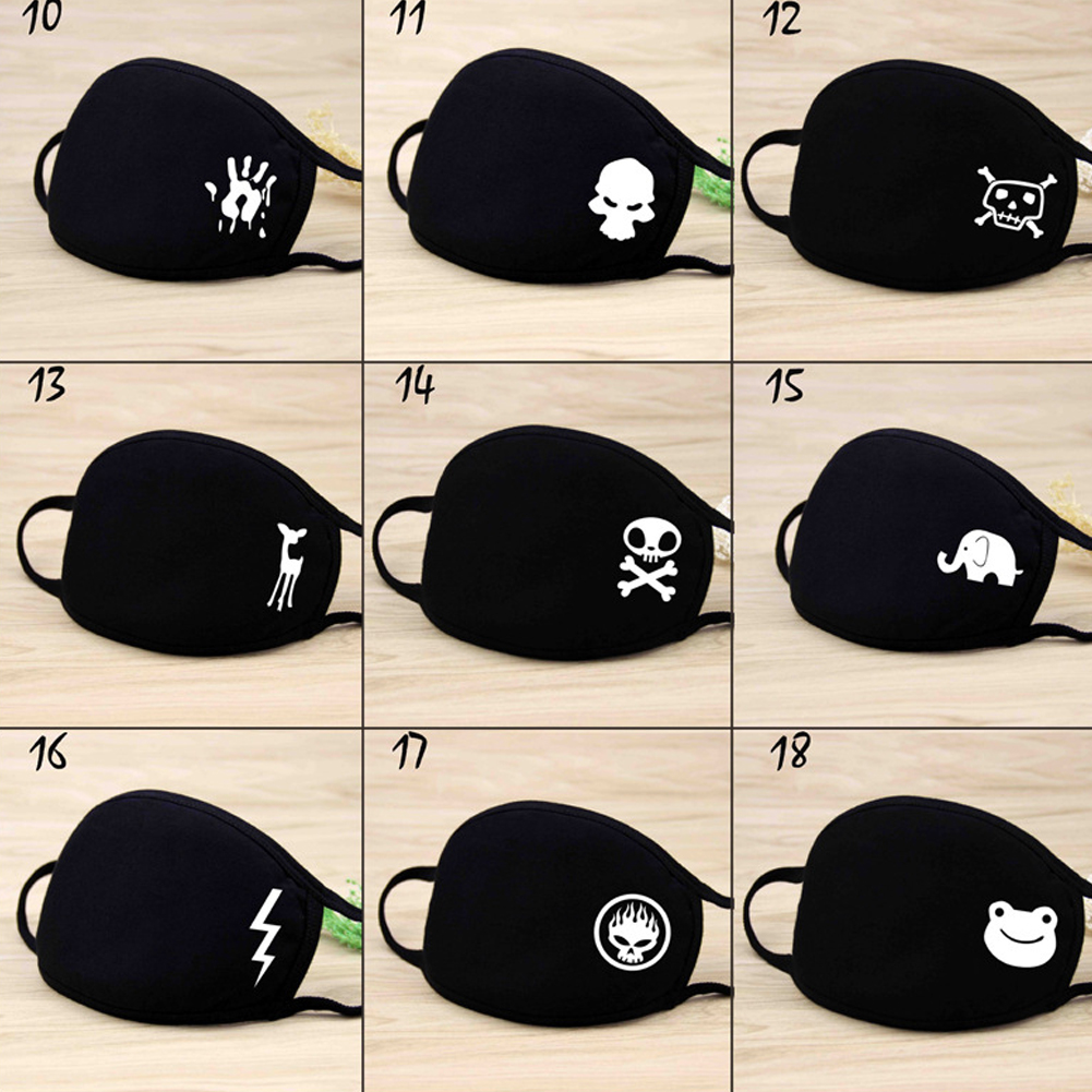 Unisex Warm Thickening Half Face Mouth Mask Cotton Cartoon Pattern Anti-Dust Anti-Bacterial Respirator Classic Black White