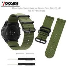 Yooside fenix 6x26mm esporte náilon nato pulseira de relógio com parafuso ferramentas & talões pulseira de relógio para garmin fenix 3/3 hr/fenix 5x/5x plus