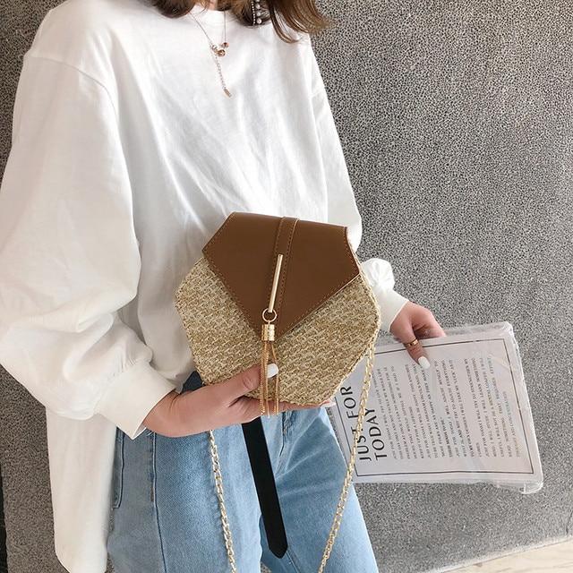 Hexagon Mulit Style Straw+leather Handbag Women 3