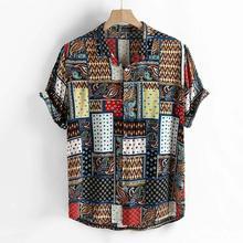 Casual Mens shirt Summer Vintage Ethnic Style Printing Loose Short Sleeve Collar Shirt 8.13