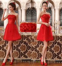 free shipping tube top 2018 new design hot handmade flowers prom short formal plus size peplum red Prom bridesmaid Dresses