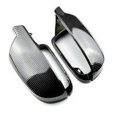 2 adet karbon fiber tarzı dikiz aynası kabukları kapak koruma kapağı araba Styling kabuk yan ayna kabuk kapakları A3 A4 a5 B8.5