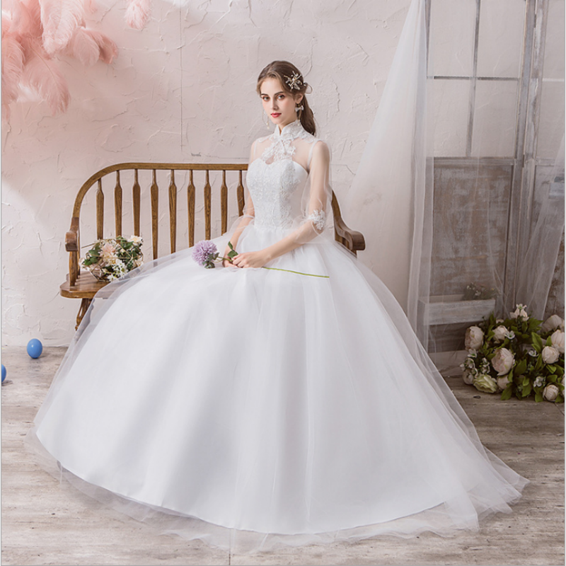 Stand Collar Tulle Wedding Dress Tails Bell Half Sleeves Lace Applique Open Back Lace Up Bridal Ball Gown