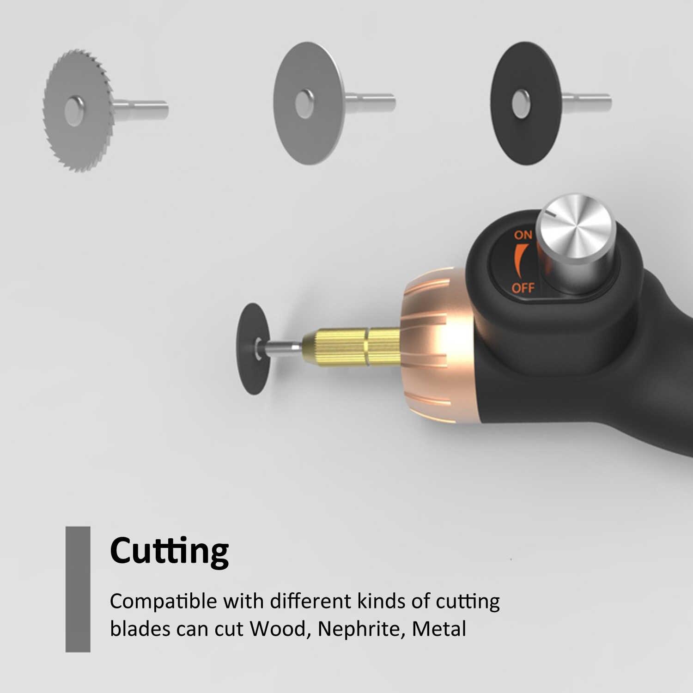 חשמלי רוטרי חריטת כלי 24W מתכוונן מהירות לטש עם 10pcs רוטרי אבזר ערכת טחינת ניקוי כלי קיט